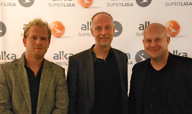 Chefredaktør for Magasinet Alka Superliga Michael Ravn, direktør i Superligaen A/S Claus Thomsen og adm. direktør Lars Guldager Dyhr fra Dyhr Sports Media.