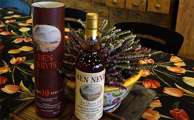 Ben Nevis single malt 10 år Scotch whisky 46%. (fra det vestlige højland)